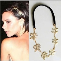 2014 women's headwear fashion metal leaf elastic hair band hair rope  free shipping SFD042