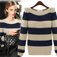 Winter Women Clothes Long Seeve Boat Neck Striped Pullover Sweater Casual Chunky Knitted Sweater Free Shipping