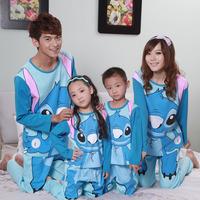 Autumn knitted cotton cartoon stitch long-sleeve sleepwear lovers set parent-child sleepwear family pack lounge