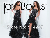 Cutomized Sweetheart Appliques Beaded Ruffles Hi Low Straight Black Organza Prom Dresses 2014 New Arrival Party Dress
