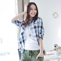 Fashion 2013 100% fresh cotton plaid shirt female long-sleeve preppy style classic plaid shirt
