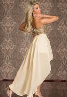 Women's sexy irregular double layer dress paillette gauze backless Chest wrap strapless dresses princess dress coat