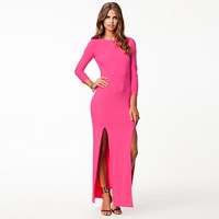 Smss racerback sexy elegant placketing candy color long-sleeve slim full dress one-piece dress