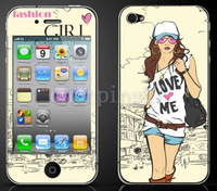 2 Pair New Design Popular Full Body 3D Girl Diamond Screen Film For iphone4/4S