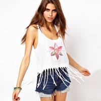 girl dress fashion street women's print tassel low-cut sexy tank