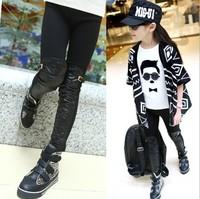 Fashion 2014 New Product Promotion Baby Girls Winter PU  Pants Leggings Kids Keep Warm Thincking  Pants Retail & Wholesale