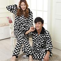 2013 winter thickening flannel lovers sleepwear male Women lounge thermal 100% cotton long-sleeve
