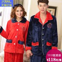 Lovers sleepwear winter thickening flannel sleepwear coral fleece lovers lounge set