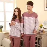 Long-sleeve lovers 100% cotton thickening sleep set spring and autumn male women's lounge plus size