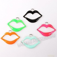 75pcs/lot New Arrival Mixed Colorful Enamel Hollow Mouth Lip Charm Alloy Charms  Fit Jewelry DIY 22*16*3mm 145553