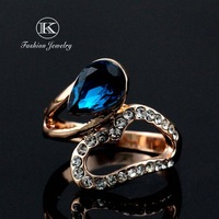 Fashion 2014 Designer brands 18K Rose Gold Plated with Rhinestones Royal Style   Flowers Orange Austrian  Crystal Ring