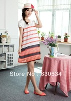 Spring Korean maternity summer fashionable dress pregnant women pregnant 31036 Chiffon stripe dress