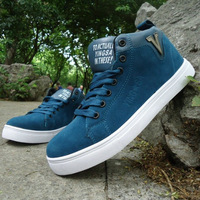 Men's casual  skate  high-top  solid color fashion scrub casual  increased  flats shoes