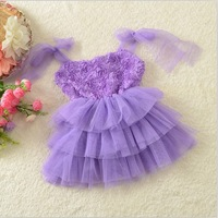 2014 New Summer  Boutique Korean girls sweet lace rose tutu dress by girls korean princess dress kids lace TU TU free shipping