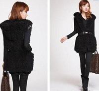 Female fur coat with a hood circle faux medium-long goatswool vest