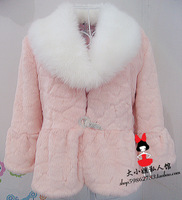 Large fur collar sweet small faux design short outerwear