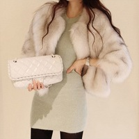 Autumn and winter fur coat fox fur short design three quarter sleeve outerwear female