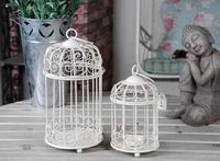 Free shippig fashion white iron birdcage candle holder candlestick