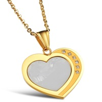 2014 new arrival popular 316L stainless steel shell heart lady Necklace ,fashion women jewelry