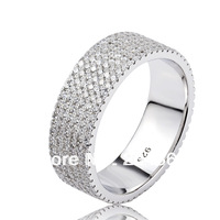 GNJ0474 Free shipping Full CZ finger ring Eternity wedding rings for women 1pc 925 sterling silver micro pave CZ Jewelry ring