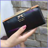 Women Wallet Golden Bowknot Long PU Leather Card Holders Clips Flower Hasp Buckle Wallets Clutch Case Purse Lady HandBags was012