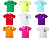 Breathable clothes summer cool boy's short sleeve shirt/blouse multi-color kid boy polo shirt with cute bear embroidered