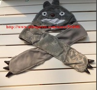 Free shipping (1 pieces/lot) 100% polyester Cartoon Totoro long section of the hat with the Gloves and scarves Warm winter hats
