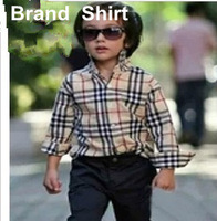 2-15Years Boys Shirts Brand New Children Plaid Long sleeve Shirts Vintage London Teenage Boys Classic Shirts Tops