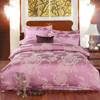 Destina home textile silk floss satin big jacquard piece set elegant piece set royal bedding