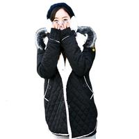 Free Shipping Fat MM Single-breasted Wadded Jacket Outerwear Hooded Women's Winter Plus Size Clothing :L-XL-XXL-XXXL