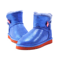 2014 warm winter 100% sheep skin and wool fur snow boots woman 3 colors  woman shoes butterfly button  size US 5-9 Y3352-3