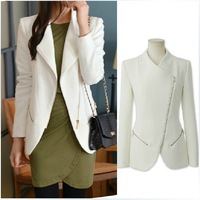 Free Shipping European and American new female personality zipper Slim small suit jacket S, M, L, XL