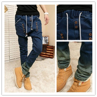 free shipping 2014  mens slim button gradient color small harem pants of alcoholicity of mens jeans