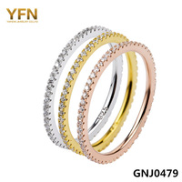 GNJ0479 Free P&P 925 Sterling Silver Micro pave CZ ring Band Wholesale Fashion Vintage Jewelry 925 Stackable Ring set for women