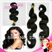 Wholesale Virgin Malaysian Human Hair Natural Color Body Wave I tip/stick tip Extensions Keratin Hair 100 shares 1/package