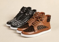 2014 Men's striped high top sneakers.Brand leather high top sports shoes.Men genuine leather shoes with box,dusty bag.39-44