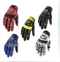 2014 New racing gloves Bicycle Motorcycle gloves the Full Finger size M L XL 5 color Red  black bule White Free shipping