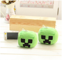 Soft Minecraft Creeper Plush Keychain Green Branded keyrings Small Square Pendant 1pcs/lot