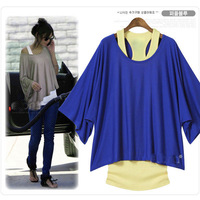 Fashion Womens Loose Tops Batwing T-Shirt Blouse+Tank Casual Vest
