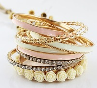ZH0789 New Arrive fashion and resin flower enamel multilayer alloy bracelets and bangles