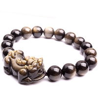 Yanerwo natural obsidian pi xiu bracelet male Women