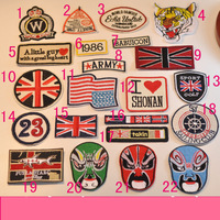 Export quality Iron-on sew-on Tiger Union Jack Peking Opera embroider fashion patch badge for Kids DIY fun handwork patches