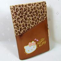 2013 New Beautiful Free Shipping  Hello kitty   Pendant  Leopard  Pu Hasp  Women Girl Lady Wallet  Purse Size(15.0cm*10.0cm)
