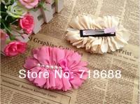 Hair Accessories Big Chiffon Flower with pearls clip for girls women shoe flower head flower clip 30pcs/lot