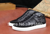 2014 Men's leather sneakers.Brand SKULL high top sports shoes.Fashion PP high top sneakers.skull genuine leather sneakers.38-44