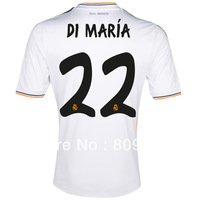 Free shipping,13/14 real madrid DI MARIA home soccer jersey Thailand quality shirts,football uniforms
