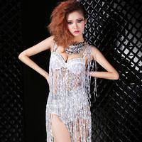 Fashion clothes sexy female singer paillette tassel set ds costume