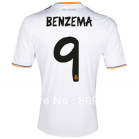 benzema  jersey 2013/14 New real madrid benzema home soccer jersey Thailand quality shirts,football uniforms,emborided logo