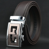 New Arrive New Fashion Man's Genuine Leather Belt Automatic Buckle Man Real Leather Belts No:QDF953 Free Shipping