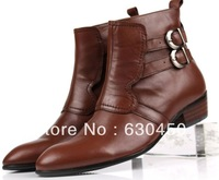 2014 new fashion Genuine Leather Round toe Elastic band Men Boots Eur 37 to 44 Mens casual boots Retail/wholesale Free shipping